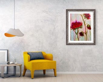 Art print, Red flower painting, red flower print, nature painting, nature print, wall art, wall decor, flower painting, flower print,