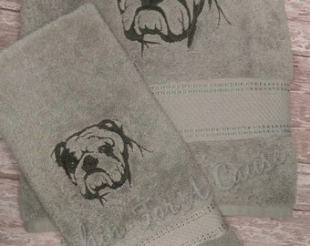 Embroidered English Bulldog Bath Towel Set / Bulldog Towels / Support Rescue / Bulldog Bathroom Accessories / Bulldog Bathroom Decor