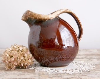 Vintage Brown Hull Round Pitcher drip glaze with ice lip mirror brown oven proof made in USA kitchenware dripware water pitcher
