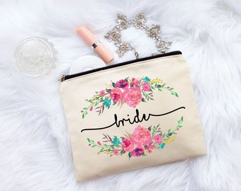 Bride Gift, Bride Makeup Bag, Floral Bride Bag, Floral Bag, Gift for Bride, Wedding Makeup Bag, Bridesmaid Gift, Maid of Honor Gift, Bride
