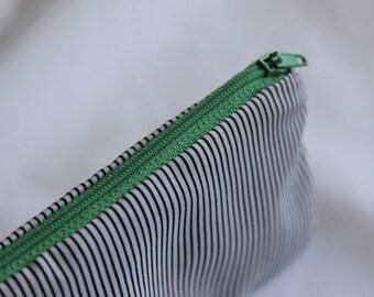 Black and White Striped Pencil Pouch//pencil case, zipper pouch