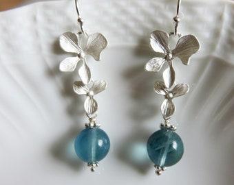 Blue Fluorite  Earrings, Dangle & Drop Silver Earrings,  Orchid Flower Silver Earrings, Mothers Day Gift, GemlinkDesign Jewelry