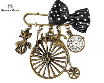 """""""Belle epoque"""" bronze brooch pin retro cat watch bicycle bow"""