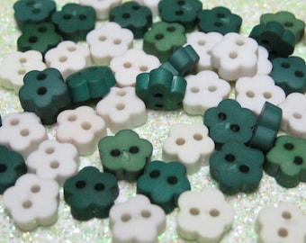 miniature flower buttons for doll clothes 50pcs 2 hole 6mm mini green white