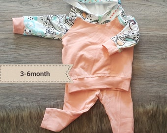 Baby girl hoodie set,3-6month girl clothes,baby girl outfit,spring baby girl clothes,handmade baby clothes,baby jogger set,girl clothing set