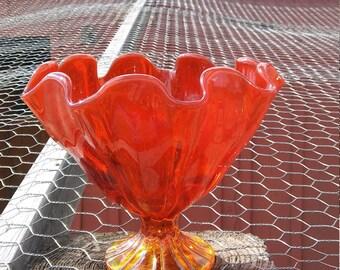 Vintage Amberina Pedestal Candy Dish