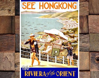 Hong Kong The Riviera of the Orient Travel Ad,Travel Art,Hong Kong Travel Ad, Vintage Ad, Vintage Art,Giclee Art Print,Fine Art Reproduction