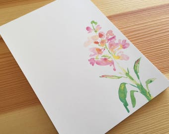 Stock Floral Notepad Stationery - Watercolor Flower Notepad - Floral Garden Notepad - Pink Flower Notepad - 40 Sheet Handmade Notepad