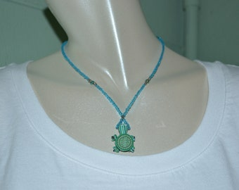 Necklace Turtle Charm, Turtle on Blue Beaded Necklace, Sea Turtle Choker, Turtle Choker, Turtle Necklace, Turtle, Sea Turtle, Beaded Choker