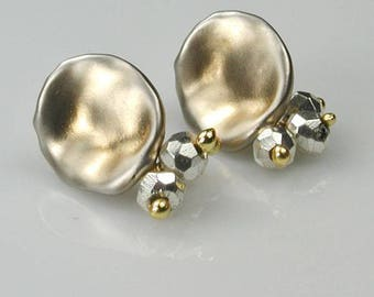 Gold and Silver Ombre Studs with Silver Hematite Cluster Charms
