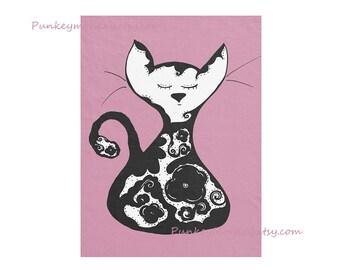Enfant personnalisé couverture kitty chat doudou rose noir blanc 30 x 40 couverture fleurs personnalisés chat peluche couverture en Polar choisir la couleur