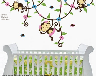 WALL DECAL - SUPER cute Monkey wall decal, monkeys in tree wall decal for nursery. 3 cute monkey stickers suitable for any age.