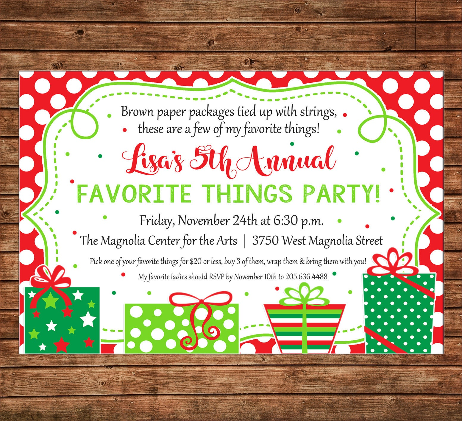 Christmas Invitation Favorite Things Dirty Santa Gift Exchange Party ...