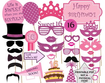 """Sweet 16 Photo Booth  Props: """"SWEET 16 PHOTOBOOTH"""" Sweet sixteen props Printable sweet 16 Birthday party props 16th birthday sweet 16 party"""