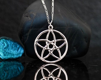 Celtic pentagram necklace, Pentagram flower necklace, pentagram pendant, sterling silver, pentacle pendant, pentacle necklace, Pagan jewelry