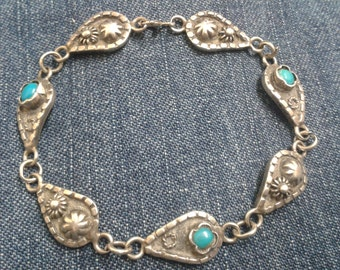 Vintage Silver Bracelet Set with Turquoise Stones