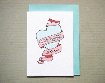 Thank You Card * Thank You note * pink and blue * heart * wedding * A6 card comes with matching pale blue envelope