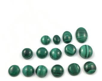 Malachite Natural Stone Cabochons   Parcel Lot of 15 Undrilled Cabs   Polished Loose Stones   Wire Wrapping   Jewelry Supplies