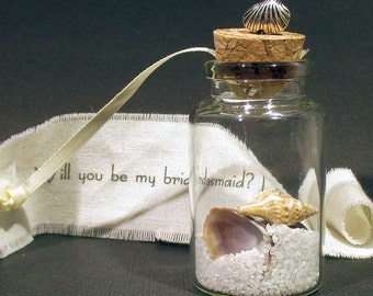 Will you be my bridesmaid - Bottle - Invitation - Personalized - Invite - Shell - Beach Wedding