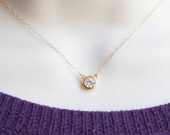 Floating Diamond Necklace, CZ Necklace, Dainty Gold Necklace, Solitaire Necklace, Layering Necklace, Minimalist Necklace CZ Diamond Necklace