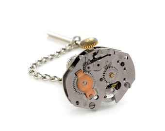 Steampunk Industrial Design Watch Tie Tack Pin Chain Clip