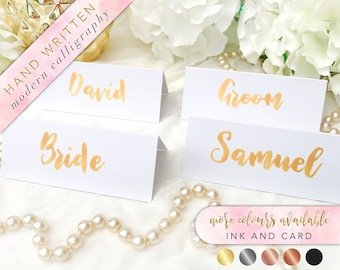 Gold Place Cards, Brush Lettering Name Tents, Brush Lettering Place Cards, Modern Calligraphy, Brush Lettering Wedding, White and Gold