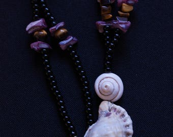 Double Shell Pendant Necklace and Tigers Eye