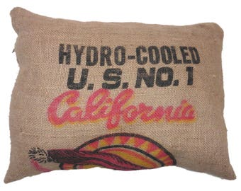 California burlap pillow cover