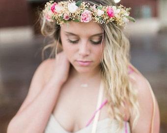 Blush Dried Flower crown Brides Maids hair wreath pink coral destination wedding accessories boho halo flower girl Bridal party circlet