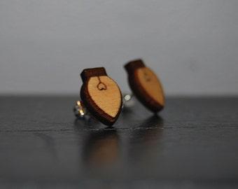 Engraved Wood Christmas Light Earrings with Nickel Free Studs!
