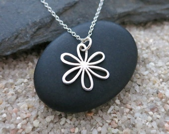 Daisy Necklace, Sterling Silver Daisy Charm, Nature Jewelry, Flower Necklace