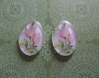 Vintage Cameos - 18X13mm Cabochons - Pink Tulip Flowers on White Cameos - Decal Picture Stones Made in Germany - Qty 2 *NEW ITEM*