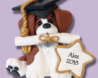 Graduate Ornament Personalized Beagle Christmas Ornament HANDMADE Polymer Clay - Limited Edition