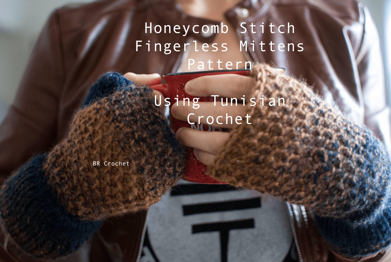 Honeycomb Stitch Fingerless Mittens Pattern