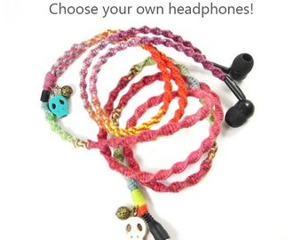 Sugar Skull Headphones | Wrapped Tangle Free Day Of The Dead Earbuds | iPhone , Android, Skullcandy, Earpods | Dia De Los Muertos Earphones
