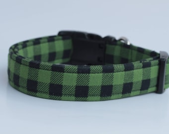 Green Buffalo Check Plaid Dog Collar