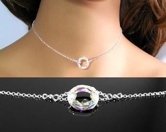 Eternity Circle Necklace, Sterling Silver, Clear Aurora Borealis Swarovski Crystal AB, Open Circle Choker, Ring Karma Minimalist Jewelry