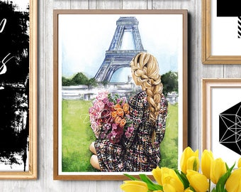 Paris illustration, Paris girl, fashion illustration, fashion print, digital prints, digital print, fashion, watercolor, painting