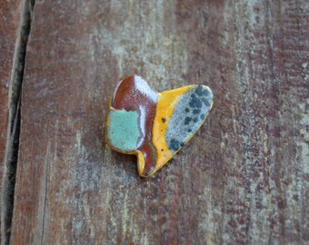 Handmade Ceramic Brooch- yellow, teal, gray speckles,oil spill, unique, geometric
