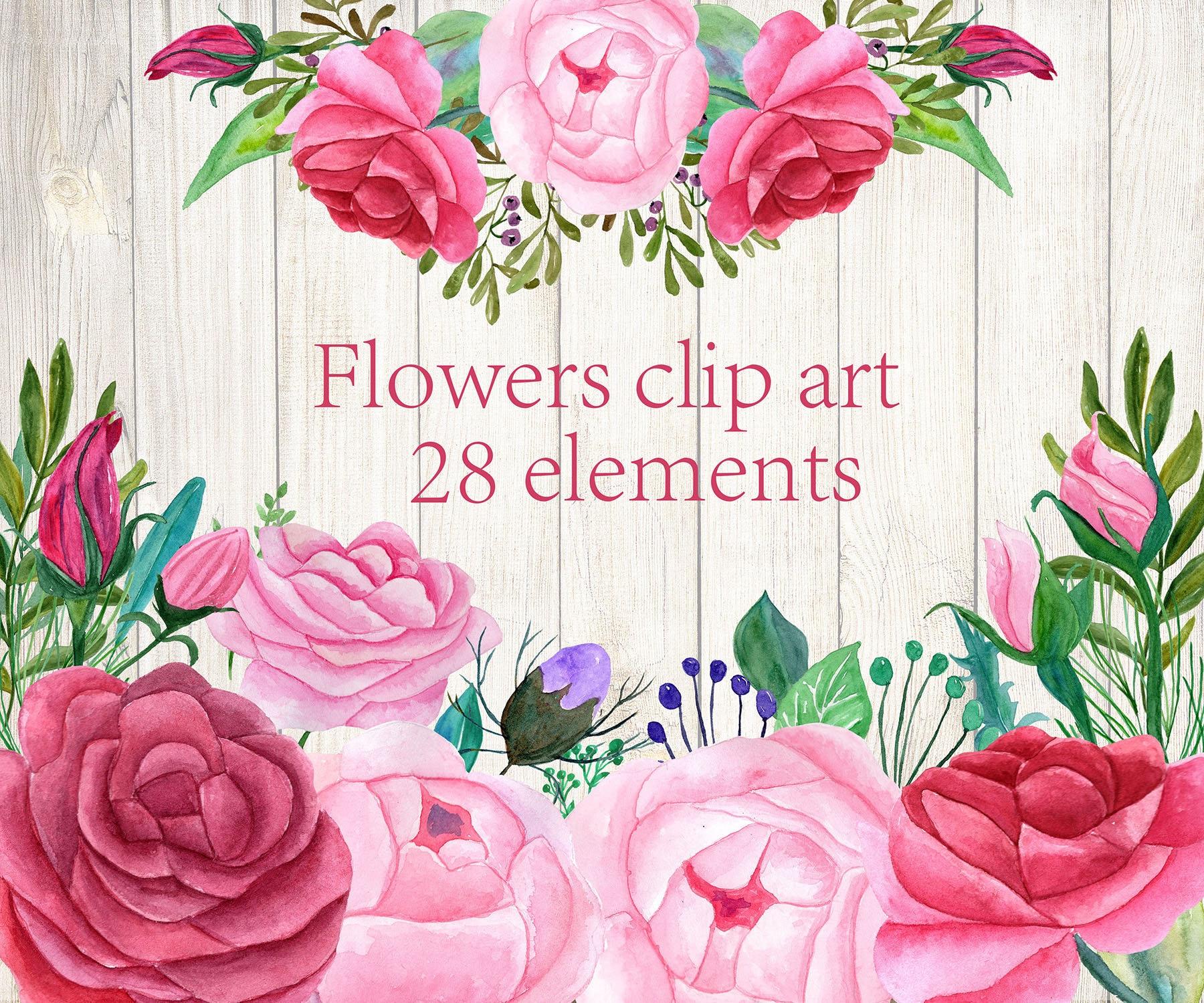 Imágenes Prediseñadas de acuarela rosas rosa flores clipart