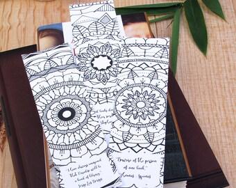 Set of 3 Printable Mandala Bookmarks, perfect for coloring