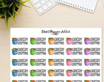Grocery Shopping Planner Stickers | Groceries Stickers | Shopping Stickers | Grocery Bag Stickers | Kawaii Stickers (S-321)