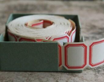 Vintage Dennison Labels - Original Gummed Red Bordered Vintage Office Labels -  1 Dozen Gummed Dennison Office Supplies - Packaging Labels
