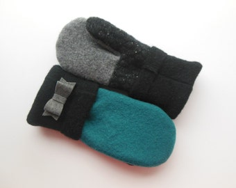 Felted Wool Mittens, READY TO SHIP, Blue, Black and Gray,  Sweater Mittens, Fleece- Lined Mittens, Eco Gift, Gift for Her