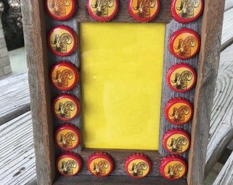 Barn Wood Picture Photo Frame Shiner Bock Beer Caps 4 X 6