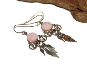 Pink Opal Earrings, Pink Opal Jewelry, Wire Wrapped Earrings, Wire Wrapped Jewelry, Vintage Gemstone Earrings, Gemstone Jewelry
