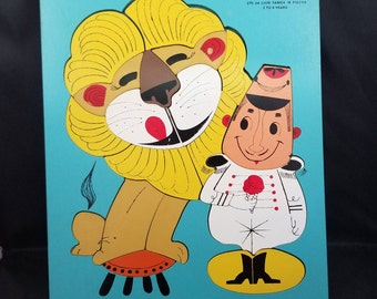 Playskool Wooden Lion Tamer Puzzle from the 50's.