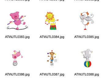Circus-Sticky-Animals ( 11 Machine Embroidery Designs from ATW ) XYZ17B