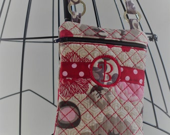 Cross Body Cell Phone Bag/Credit Card Bag/Small Zipper Pouch....Corinne Collection