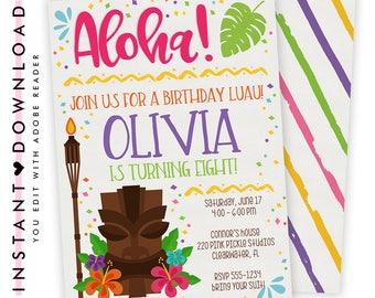 Luau Invitation, Hawaiian Invitations, Luau Birthday Invitation, Luau Party, Luau Party Invitations, Luau Invite, Luau Birthday, Luau | 220